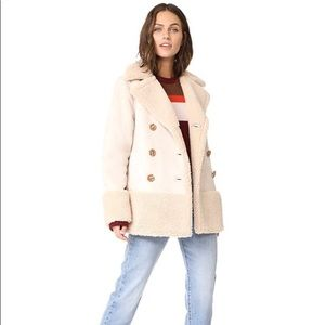 Mother Tan Shearling Sherpa Suede Jacket